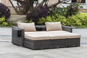 Wicker Adjustable Sofa Set with Ottomans on Sale
