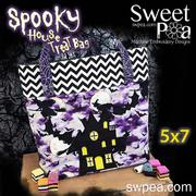 Machine Embroidery Design - Spooky House Trick or Treat Tote Bag