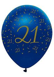 Creative Party Pack of 6 Navy & Gold Helium/Air Latex Balloons - Age 2